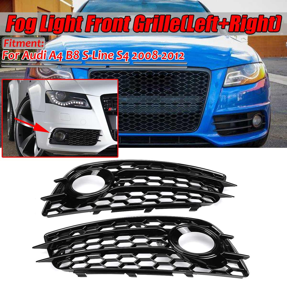 A4 B8 Black Car Fog Light Grille Lamp Cover HONEYCOMB HEX Front Grille Grill For Audi A4 B8 S-Line S4 2008 2009 2010 2011 2012