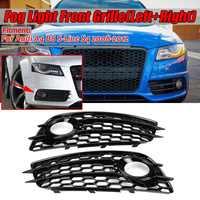 A4 B8 czarny światło przeciwmgielne samochodu krata lampy pokrywa o strukturze plastra miodu z łbem sześciokątnym przedni Grill Grill dla Audi A4 B8 S-Line S4 2008 2009 2010 2011 2012