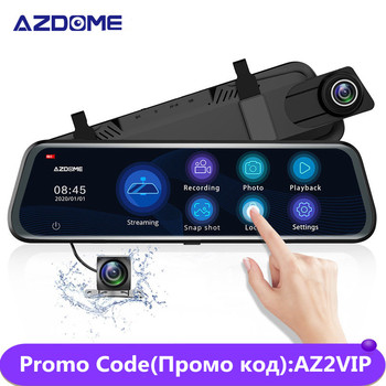 AZDOME 10'' PG12 Touch Screen 1080P Car DVR Camera Streaming Media Dash Cam Dual Lens Night Vision Rearview Mirror Support GPS