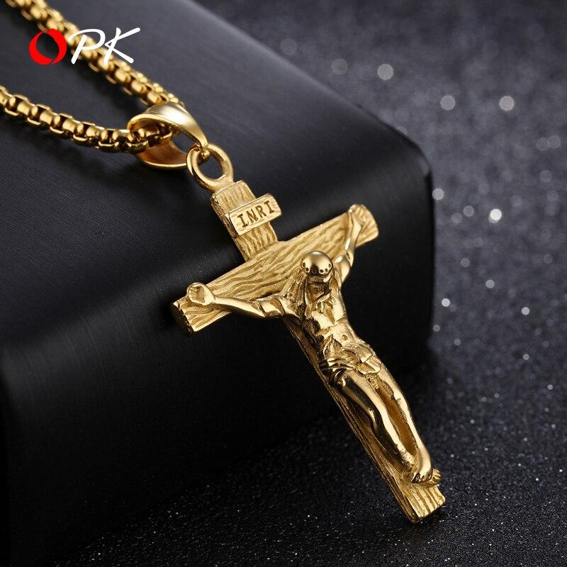 Marque hommes collier chrétien jésus croix collier tiff mode hip hop simple Sen catholique pendentif punk ins hommes Cool bijoux