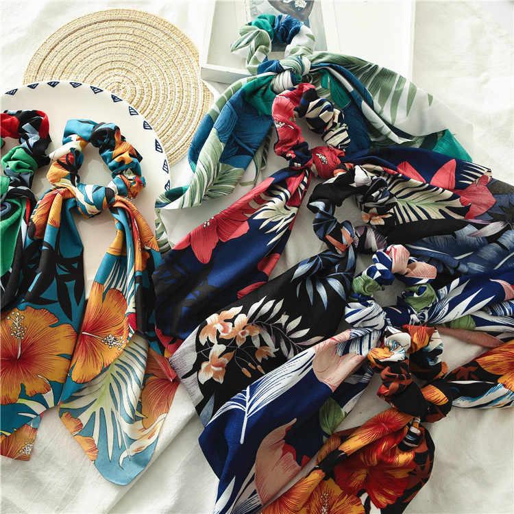 Kucyk kwiatowy taśma do drukarek Scrunchies dla kobiet elastyczne gumki do włosów serpentyny łuk chusta na głowę liny krawaty moda akcesoria do włosów
