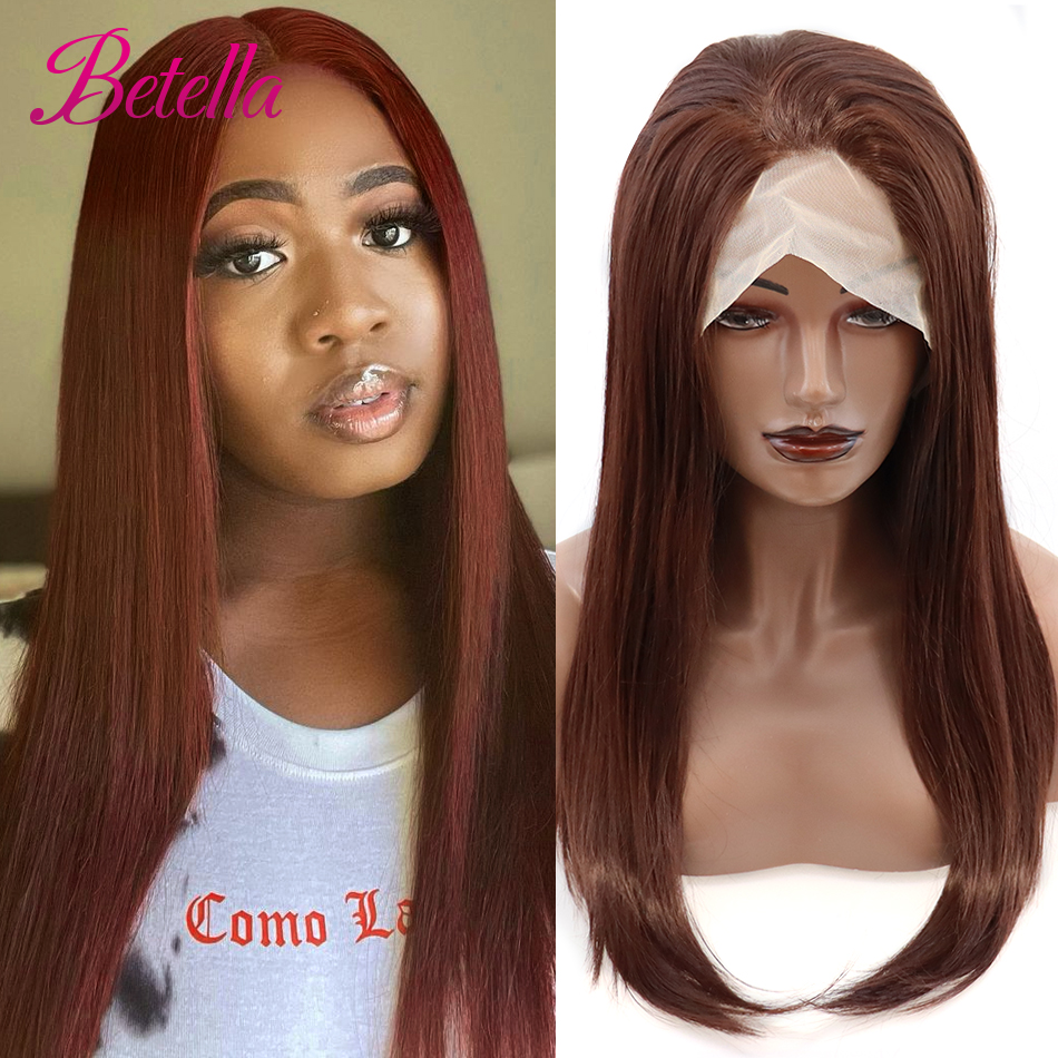 Betella Synthetic Lace Front Wig long red straight lace front wig Cosplay wigs for black women Super Fiber Hair Natural wigs