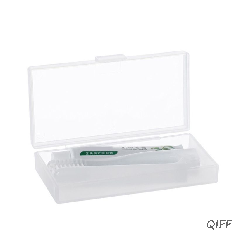 Adult Travel Folding Toothbrush Toothpaste Kit with Clear Storage Case Oral Care image