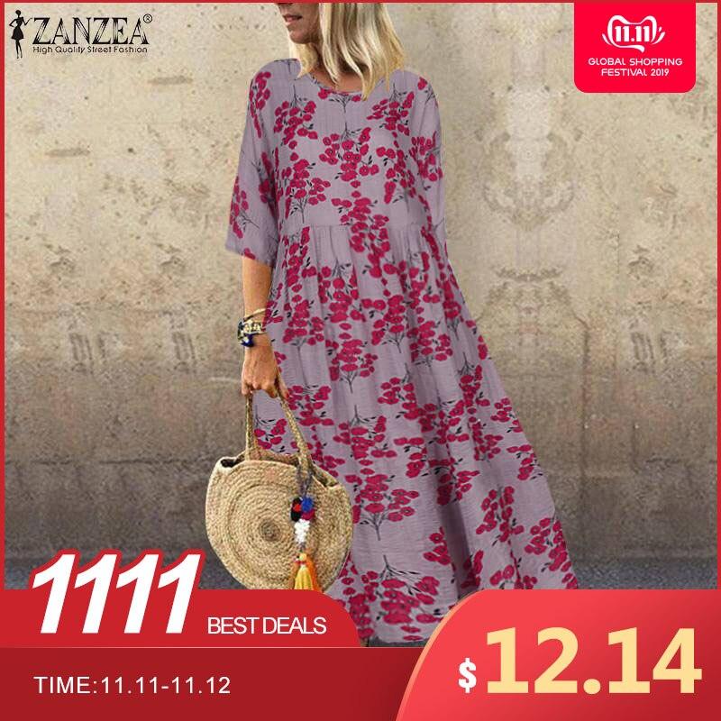 2019 Autumn Vintage Floral Printed Dress ZANZEA Women Half Sleeve Casual Sundress Bohemian Femme Dress Cotton Linen Vestido Robe