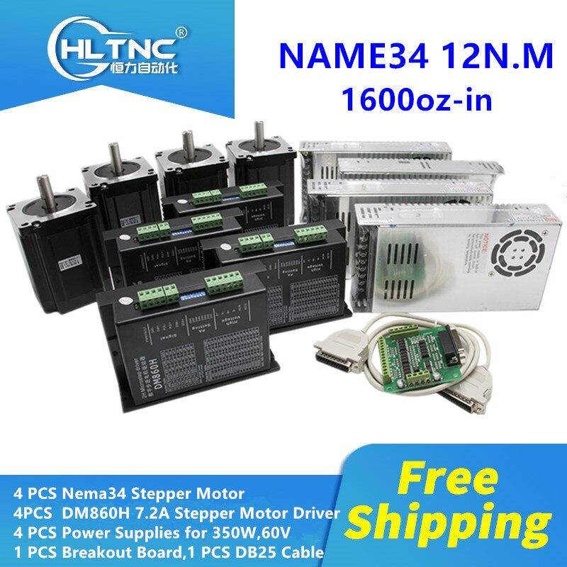 Frete grátis nema 34 motor de passo com motorista dm860h único eixo 1600oz-in + mach3 fonte alimentação 60 v para kit fresagem cnc