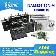 Бесплатная доставка, шаговый двигатель постоянного тока nema 34 с драйвером DM860H, одновальный 1600 унций дюйм + mach3 + источник питания 60 в для фрезерного комплекта с ЧПУ