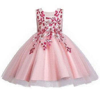 Vestidos infantiles para niñas, vestido bordado de encaje, vestido de boda para niñas pequeñas, vestido de fiesta de cumpleaños, ropa de ceremonia de apertura para niños