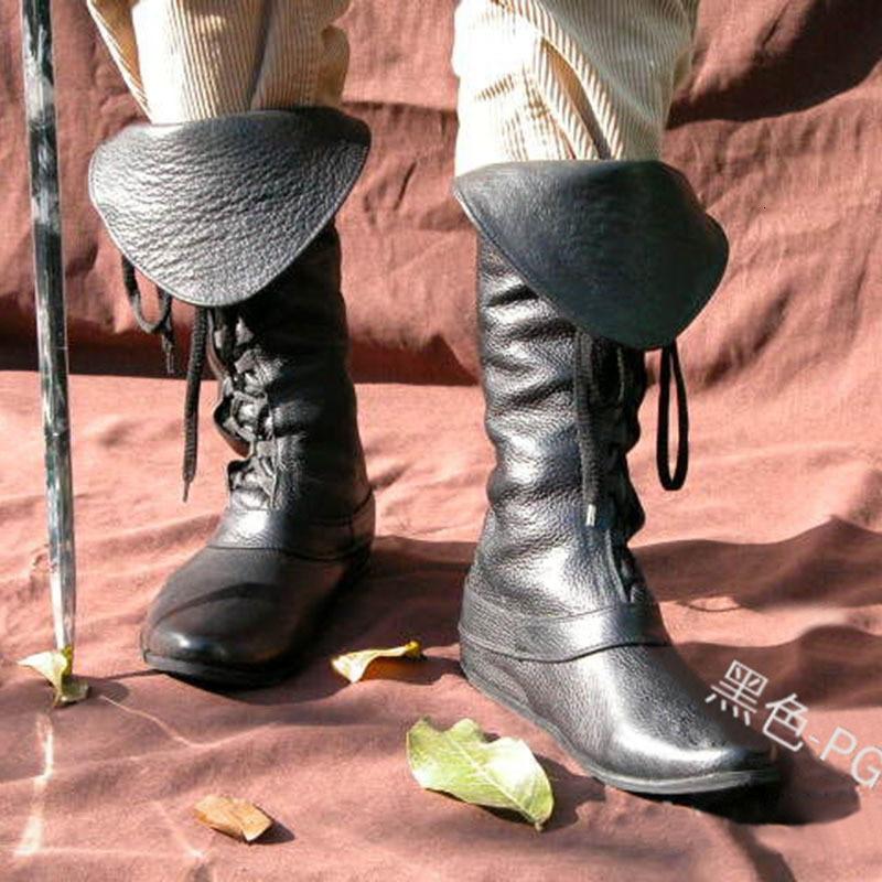 Hombre Retro Medieval Botas Cortas Lace-Up Botas de Caballero Puntiagudo Tac/ón Plano Botas Martin Halloween Cosplay Carnaval Botas Medias Empalme Botas de Cuero de PU