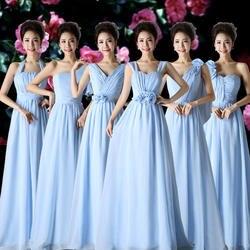 Синее длинное шифоновое платье для подружки невесты элегантное праздничное платье для гостей на свадьбу одно плечо формальных плюс размер