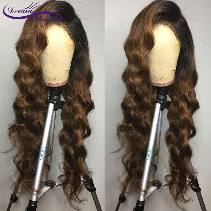 H34dfd15bcca24d97a2bd511fbaee66c9O Ombre Brown Wig Brazilian Remy Human Hair Wigs Pre Plucked Natural Hairline Wavy 13x4 Lace Front Wigs Baby Hair Dream Beauty