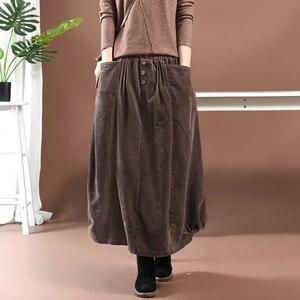 Image 1 - נשים חצאית סתיו חורף גודל גדול ארוך קורדרוי חצאית 2019 חדש נשי אלסטי מותניים כיס רטרו מקרית Loose חצאית מורי ילדה