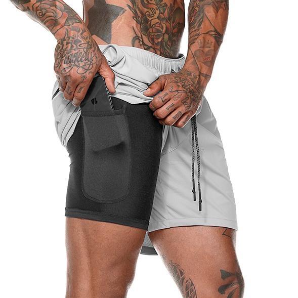 Running-Shorts Zipper-Pockets Hiden Men's Quick-Drying 2-In-1 Hips Leisure