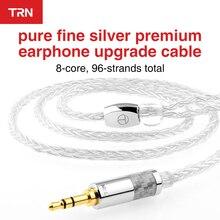 TRN Cables para auriculares de 2,5mm/3,5mm a 0,75 0,78 MMCX, 8 núcleos, 2 pines, color plateado puro, actualizado, Cable de repuesto para auriculares
