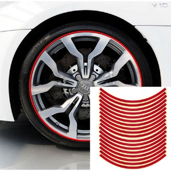 16 Pieces Strips Motorcycle Wheel Sticker Reflective Decals Rim Tape Bike Car Styling 18' For Motorcycle new 8mx1cm universal motorcycle reflective stickers strips diy bike car safety warning reflective tape wheel rim decal sticker