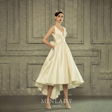 JULY French retro Ivory White Satin Noble Elegant V-Neck Long Dress Ball Gown Party Sexy backless A-line With Pocket