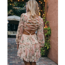 Fanco New Fashion European Above Knee Full Lantern Sleeve V-neck Deep Sheath Cascading Printed Women Dress Backless