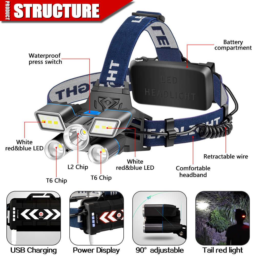 אדום כחול לבן אור 9 מצבים LED פנס L2 + 2 * T6 LED עמיד למים פנס USB נטענת ראש אור עם זנב אזהרת אור