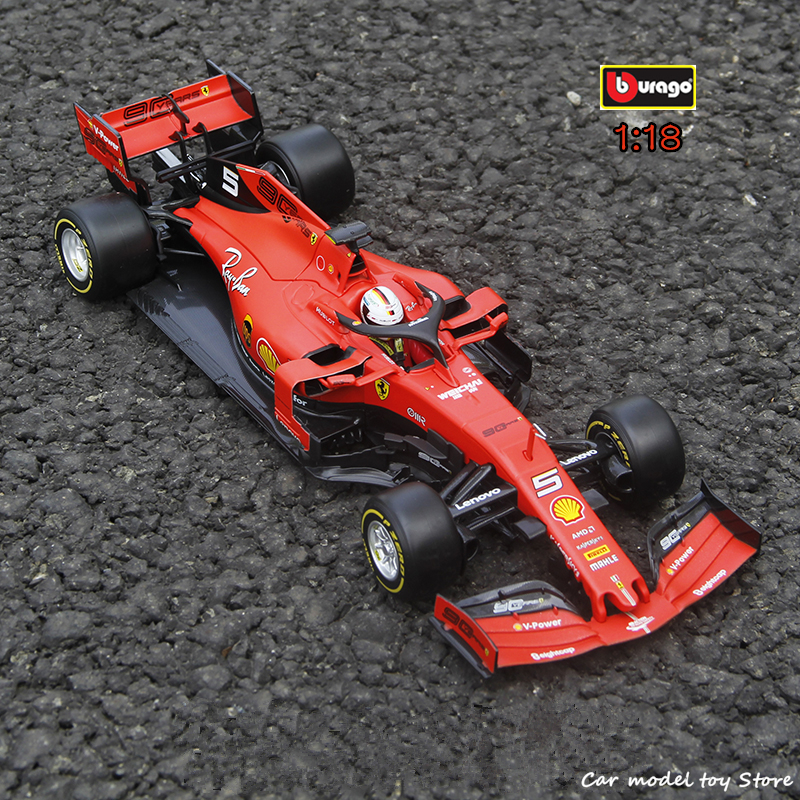 Bburago 1:18 2019 Ferrari F1 90th Anniversary Edition Formula #5 Sebastian Vettel Simulation Alloy Model Car Collection Gift Toy