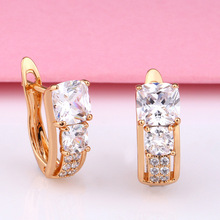 Fashion Gold Color Earring For Women Crystal Cubic Zirconia Stud Earrings Stone Pendientes Mujer Moda Minimalist Earring Jewelry top quality white gold color square aaa cubic zirconia stud earring for women wedding elegant jewelry