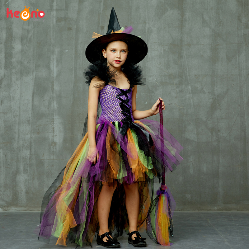 Girls Halloween Witch Tutu Dress Rainbow Trailing Tulle Kids Carnival Cosplay Party Dress Children Fancy Ball Gown Dress Costume 3