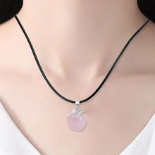 Natural Rose Quartz Pink Home Decoration Crystal Pendants Suspension For Female Women Gift Fashion Jewelry Necklaces Pink Jade(China)