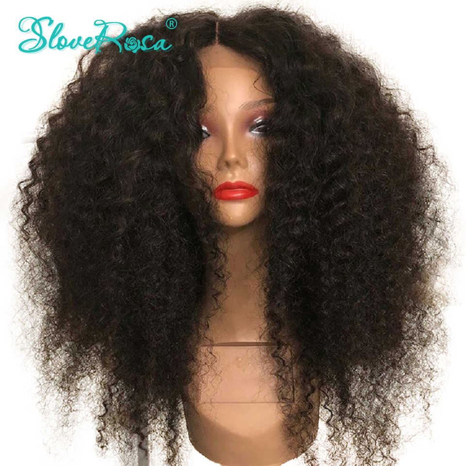Kinky Curly Full Lace Wigs For Women Brazilian Remy Human Hair Wigs Pre-Plucked Bleached Knots Natural With Baby Hair Slove Rosa