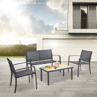 Sigtua 4 Seater Garden Furniture Set with 2*ArmChairs,1*Double Chair Sofa,1*Glass Coffee Table Outdoor Furniture Dining Set