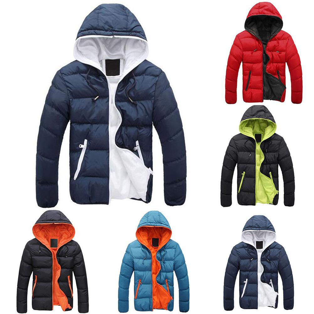 Fashion Winter Men Jacket Coat  Color Block Zipper Hooded Cotton Padded Coat Warm Thicken Outwear Jacket