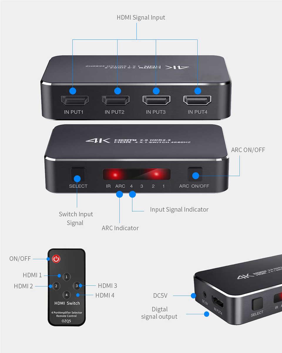UHD HDMI 2,0 4K HDMI Schalter 1x4 Mini HDMI Switch Switcher HUB Box Unterstützung HDCP 2,2 & IR Fernbedienung HDMI Switch Splitter