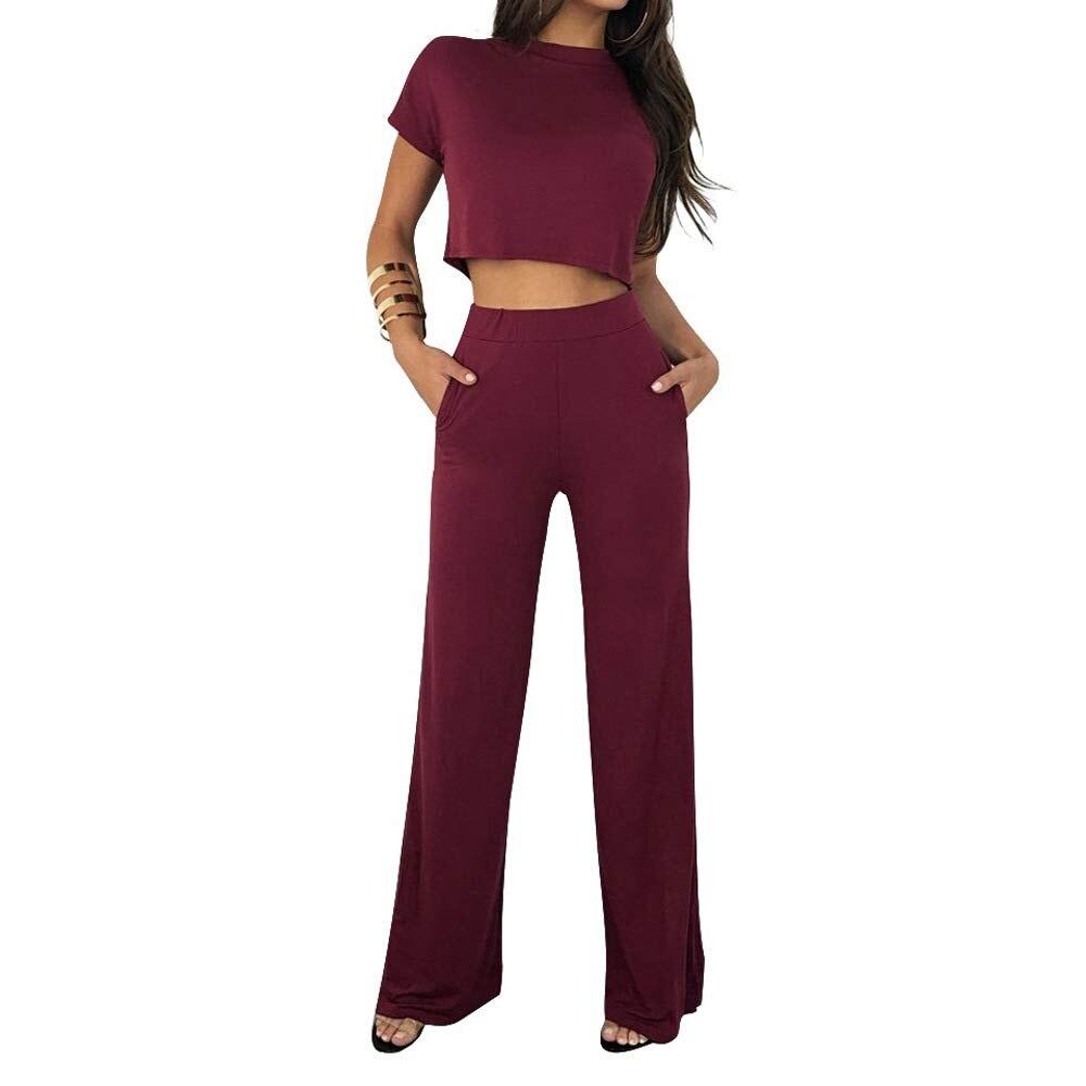 Femmes 2 pièces tenues à manches courtes Crop haut Flare Long pantalon Set2019 Polyester cachemire combinaisons