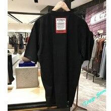 2021ss moda oversize vetements camiseta masculina mulher 1:1 melhor qualidade grande vermelho remendo tag vtm t topos camisa de algodão