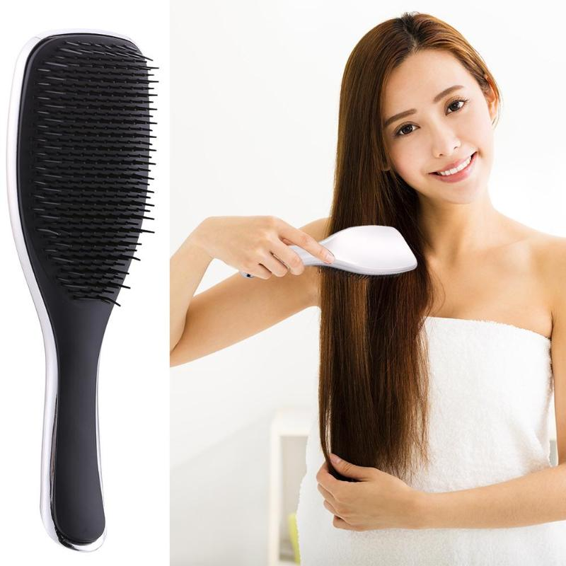 Detangling Hair Brush Massage Loss ABS TPE Electroplate For Salon Styling Women Girls Hair Combs