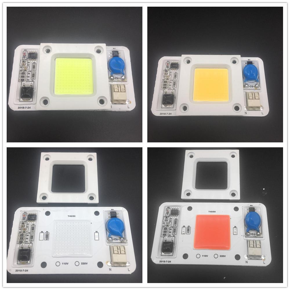 10pcs Dimmable LED COB Lamp Chip 50W AC110V 220V Input Smart IC Driver Fit For DIY LED Floodlight Spotlight LED