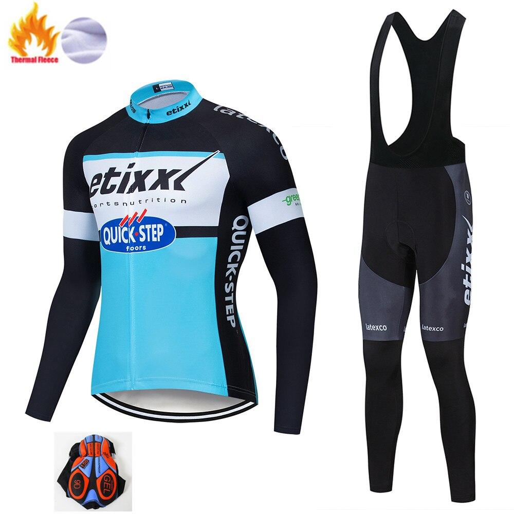 Etixxl Cycling Set Winter Thermal Fleece Sportswear Windproof Jacket Pants Outdoor Sport Suit Unisex Man Woman Clothes Set