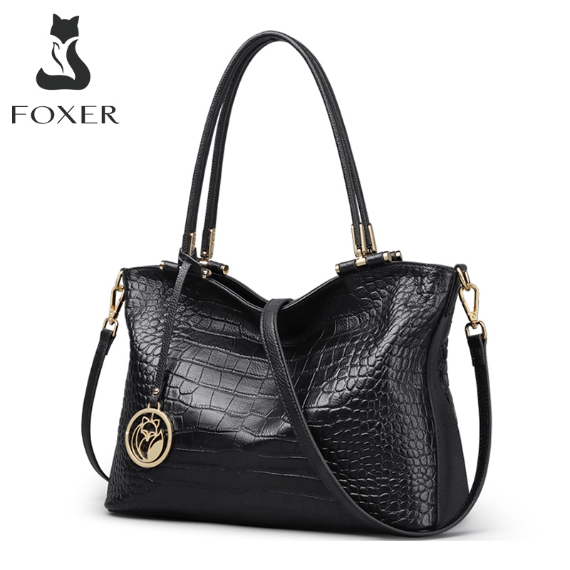 FOXER Genuine Leather Splice Design Women Vintage ALLIGATOR Lady Fall Winter Bag High Quality Female Commuter Style Totes Purse