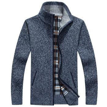 цена Men Sweater Cardigan Zipper Fashion 2020 New Arrival Winter Thick Male Knitted Coat Teenage Boy Hot sale Black Blue Gray Red M02 онлайн в 2017 году