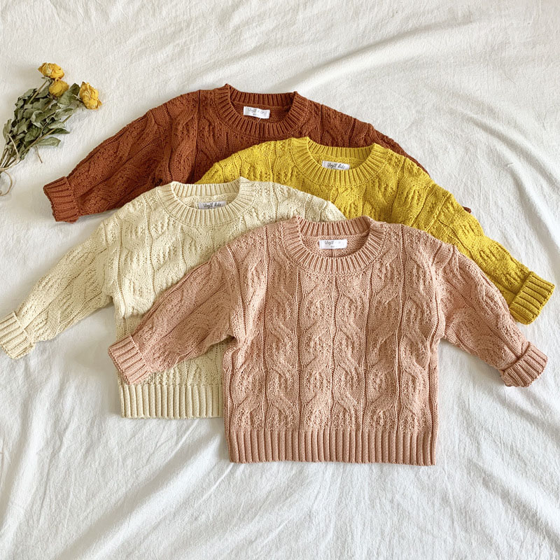 Korean Autumn Winter Kids Girls Long Sleeve Knit Hemp Flowers Sweater Children Clothing Baby Kids Girls Pullover Sweaters 1
