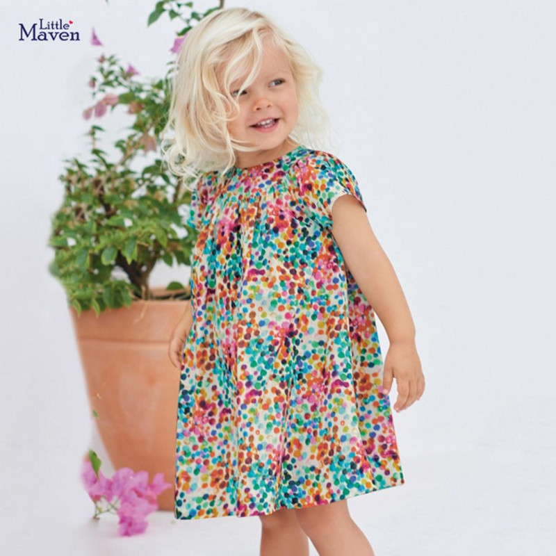 Little Maven 2020 New Summer Baby Girls Clothes Brand Dress Kids Cotton Colorful Dot Print Short Sleeve Dresses S0692