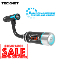 TeckNet 5V/1A USB Car Charger With Hi Fi FM Transmitter Bluetooth Handsfree FM Modulator Phone Charger in car For iPhone Xiomi