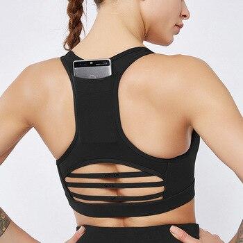 цена на top gym women black padded high impact sports bra set top sport bras women yoga fitness gym sport push up bra back pocket