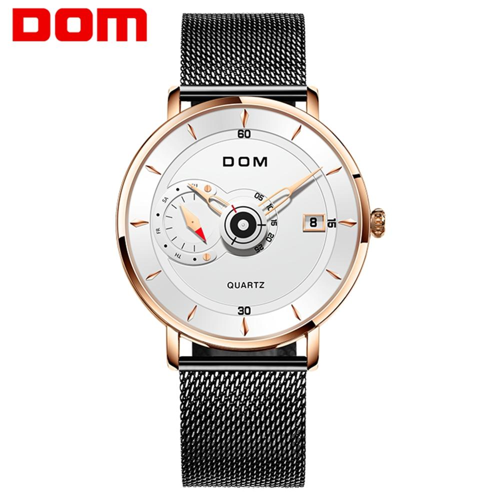 DOM New Sport Mens Watches Top Brand Luxury Full Steel Quartz Clock Waterproof Big Dial Watch Men Auto Male Wristwatch M-1299