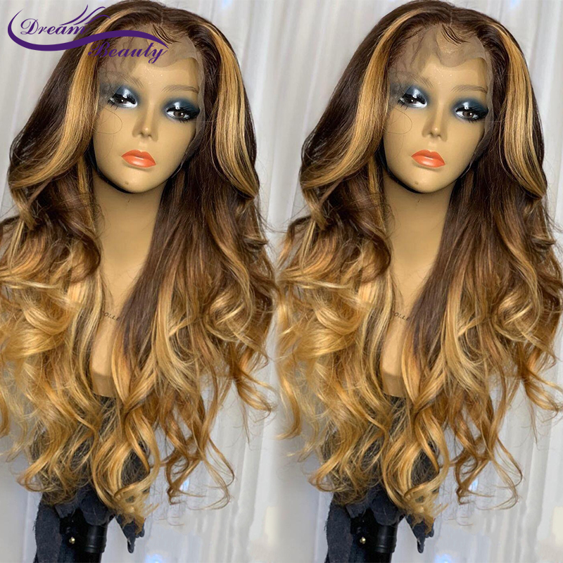 Ombre 13x6 Lace Front Wigs Middle Part Glueless Lace Human Hair Wigs Brazilian Remy Wavy Highlight Color Wigs Dream Beauty