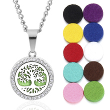 New Aroma locket Necklace Magnetic Tree of Life Aromatherapy Essential Oil Diffuser Perfume Locket Pendant Jewelry Free 10Pads