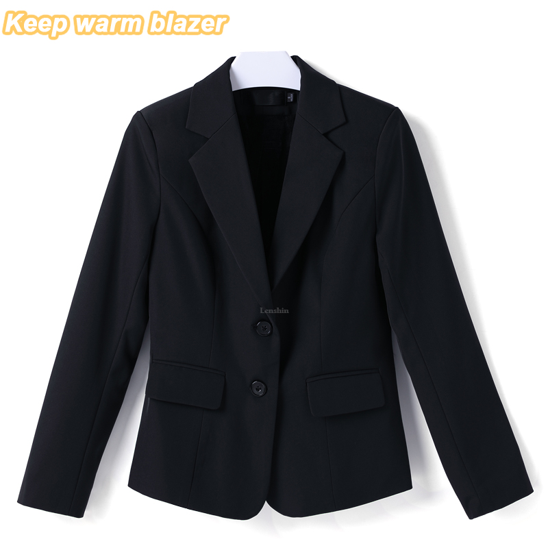 Lenshin Keep Warm Blazer With Fleece Lined Winter Wear Office Lady Work Wear Formal Female Two Button Business Suits For Women