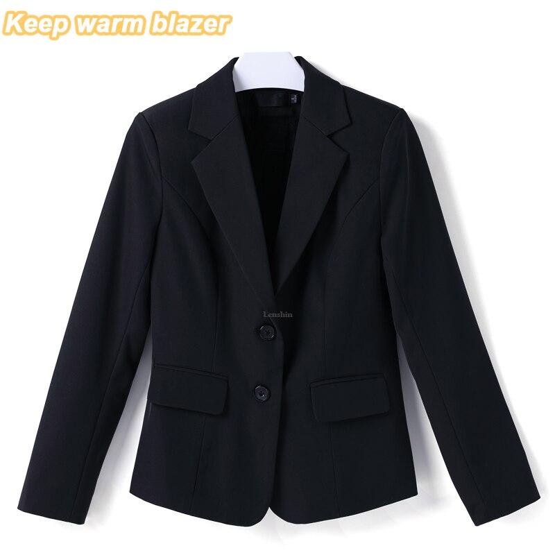 Lenshin garder au chaud Blazer avec polaire doublé vêtements d'hiver bureau dame travail usure formelle femme deux boutons costumes d'affaires pour les femmes