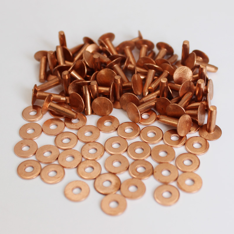 100sets Solid Copper Tubular Rivet Leather Rivets