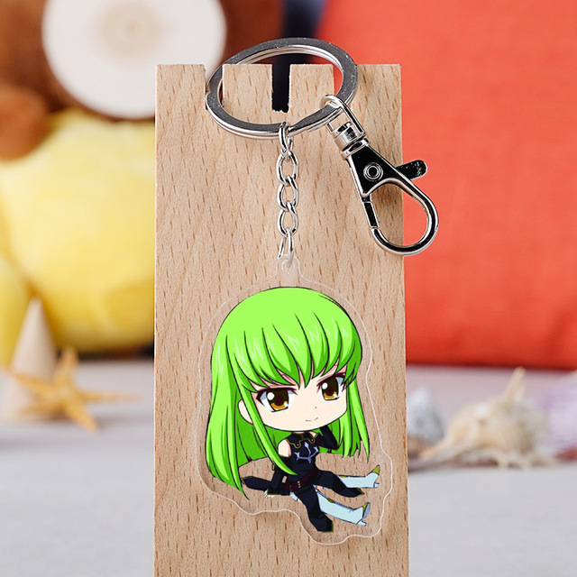 10 pcs/lot Anime Code Geass Acrylic Keychain Toy Lelouch of the Rebellion Figure Bag Pendant Double sided Key Ring Gifts 2