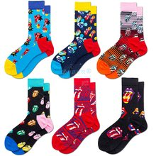 Meias masculinas moda rolling stones grande língua rock and roll engraçado harajuku hip hop sokken estilo rua feliz casual meias de algodão