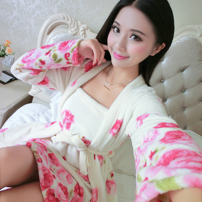 Autumn And Winter New Style Pajamas Women's Coral Velvet Thick Warm Long Sleeve Two-Piece Set Nightgown Tracksuit