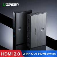 Ugreen HDMI 2.0 HDMI Switch 3 Ports 4K 60Hz 3X1 for Mi Box PS4 Nintendo Switch PC 3 In 1 Out 3 Ports HDMI Switcher Splitter